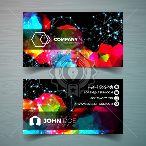 Vector modern business card design template with abstract backgound. Corporate identity illustration with simple logo. - Royalty Free Vector Illustration