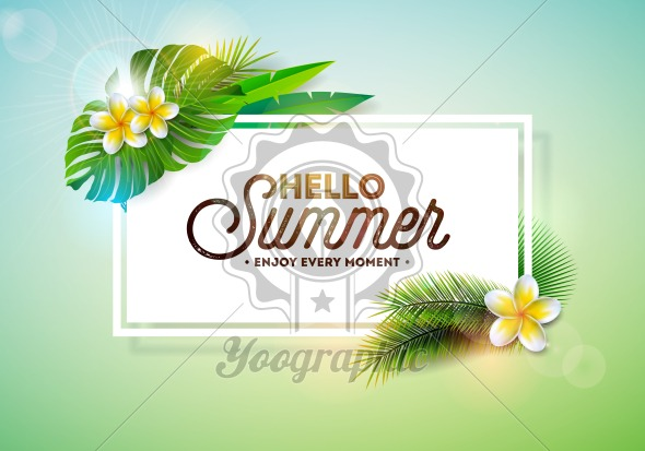Vector Hello Summer Holiday typography illustration with tropical plants and flower on clean background. Design template for banner, flyer, invitation, brochure, poster or greeting card. - Royalty Free Vector Illustration