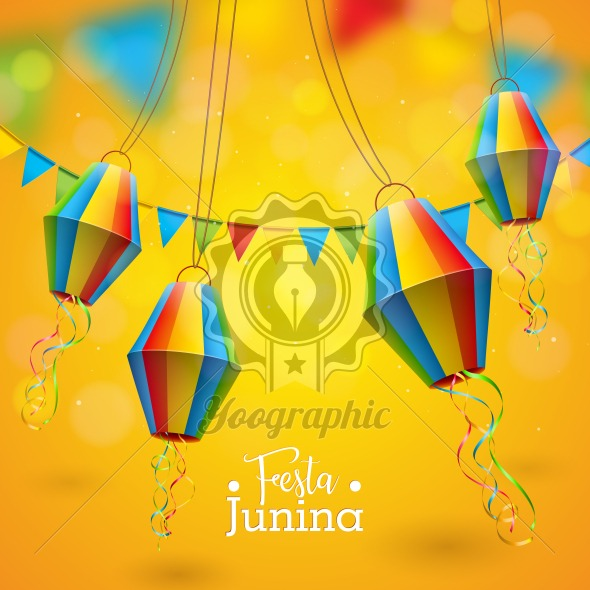 Festa Junina Illustration with Party Flags and Paper Lantern on Yellow Background. Vector Brazil June Festival Design for Greeting Card, Invitation or Holiday Poster. - Royalty Free Vector Illustration