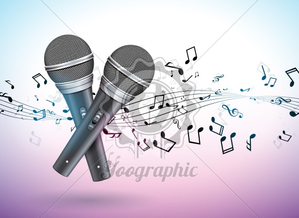 Vector Banner illustration on a Musical theme with microphones and falling notes on violet background. Design template for banner, poster or greeting card. - Royalty Free Vector Illustration