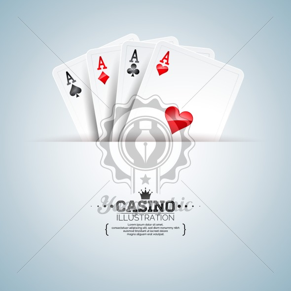 Vector illustration on a casino theme with poker cards on clean background. Gambling design for poster, greeting card, invitation or promo banner. - Royalty Free Vector Illustration