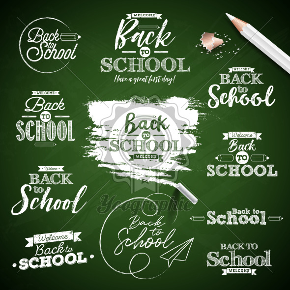 Back to school design with typography lettering set on green chalkboard background. Vector illustration for greeting card, banner, flyer, invitation, brochure or promotional poster. - Royalty Free Vector Illustration