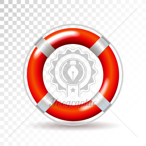Life buoy isolated on transparent background. Detailed vector illustration for your design. - Royalty Free Vector Illustration