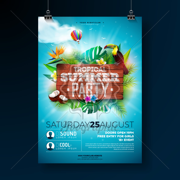 Vector Summer Beach Party Flyer Design with typographic elements on wood texture background. Summer nature floral elements, tropical plants, flower, toucan bird and air balloon with blue cloudy sky. Design template for invitation, poster. - Royalty Free Vector Illustration