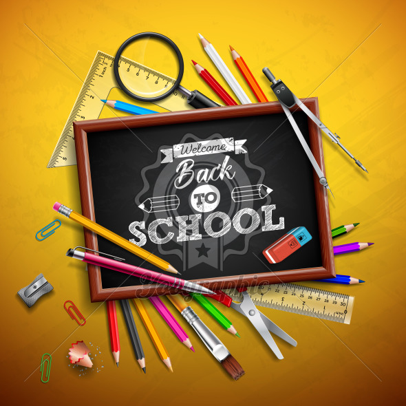 Back to school design with colorful pencil, eraser and other school items on yellow background. Vector illustration with magnifying glass, chalkboard and typography lettering for greeting card, banner, flyer, brochure or promotional poster. - Royalty Free Vector Illustration