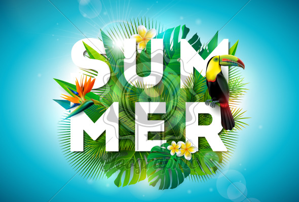 Summer illustration with toucan bird and parrots beak flower on tropical background. Exotic leaves with holiday typography element. Vector design template for banner, flyer, invitation, brochure, poster or greeting card. - Royalty Free Vector Illustration