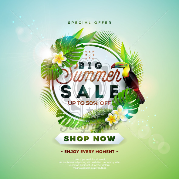 Summer Sale Design with Flower, Toucan and Exotic Leaves on Nature Green Background. Tropical Floral Vector Illustration with Special Offer Typography Elements for Coupon, Voucher, Banner, Flyer, Promotional Poster, Invitation or greeting card. - Royalty Free Vector Illustration