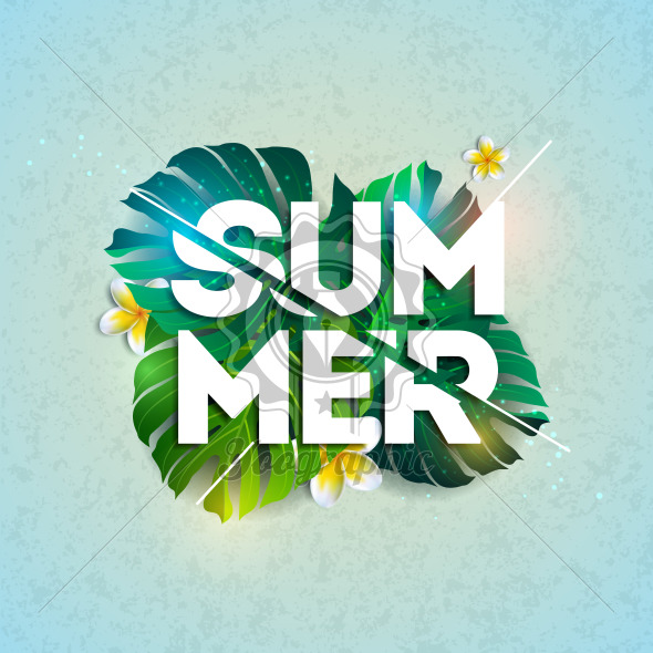 Vector Summer Holiday typographic illustration with exotic leaf and flower on blue background. Tropical design template for banner, flyer, invitation, brochure, poster or greeting card. - Royalty Free Vector Illustration