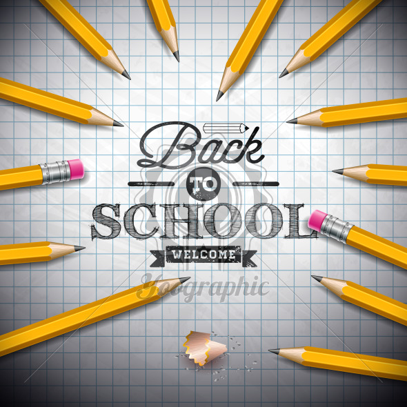 Back to school design with graphite pencil and typography lettering on notebook background. Vector illustration for greeting card, banner, flyer, invitation, brochure or promotional poster. - Royalty Free Vector Illustration