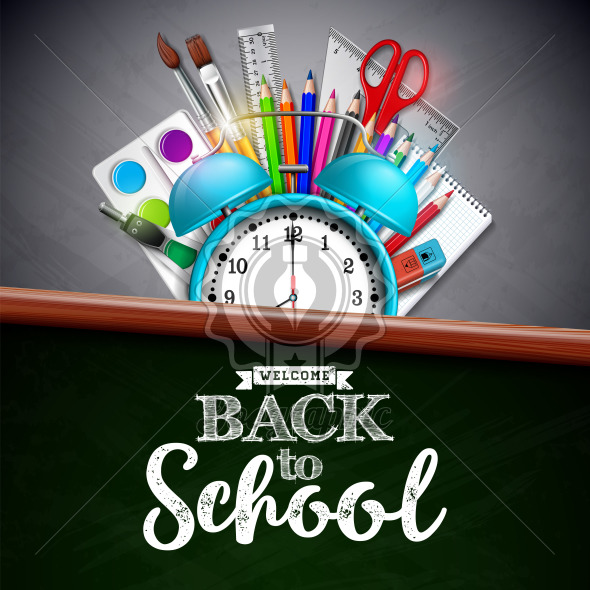 Back to school design with colorful pencil, brush and other school items on yellow background. Vector illustration with alarm clock, chalkboard and typography lettering for greeting card, banner, flyer, invitation, brochure or promotional poster. - Royalty Free Vector Illustration
