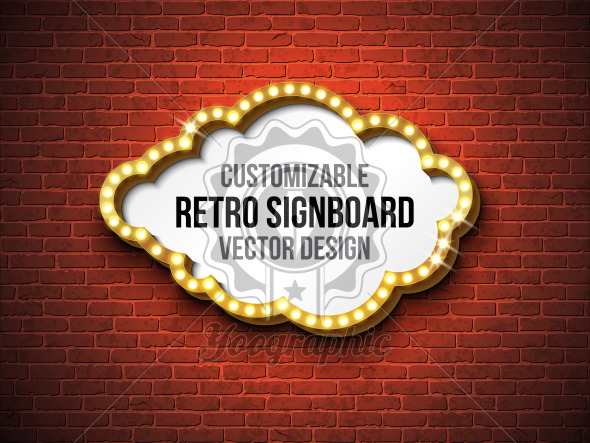 Vector retro signboard or lightbox illustration with customizable design on brick wall background. Cloud shape light banner or vintage bright billboard for advertising or your project. Show, night events, cinema or theatre light bulb frame. - Royalty Free Vector Illustration