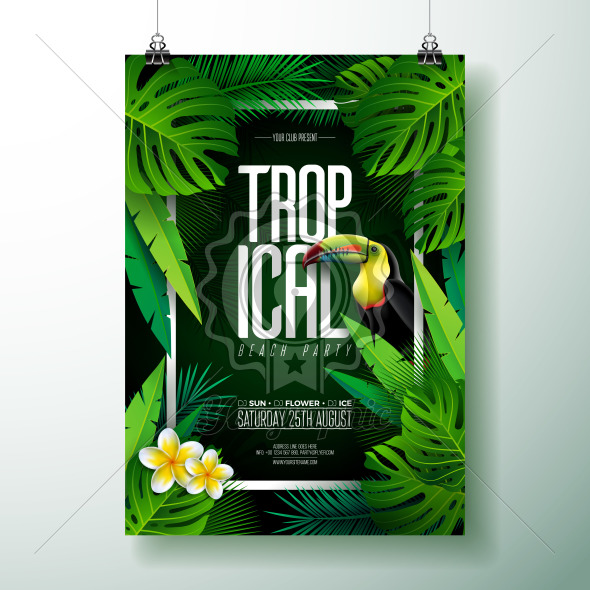 Vector Summer Tropical Beach Party Flyer Design with Toucan, Flower and typographic elements on exotic leaf background. Summer nature floral elements, tropical plants. Design template for banner, flyer, invitation, poster. - Royalty Free Vector Illustration