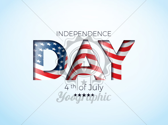 Independence Day of the USA Vector Illustration with Flag in Cutting Lettering. Fourth of July Design on Light Background for Banner, Greeting Card, Invitation or Holiday Poster. - Royalty Free Vector Illustration