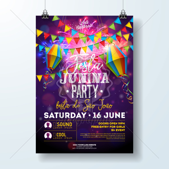 Festa Junina Party Flyer Illustration with Flags and Paper Lantern on Firework Background. Vector Brazil June Festival Design for Invitation or Holiday Celebration Poster. - Royalty Free Vector Illustration