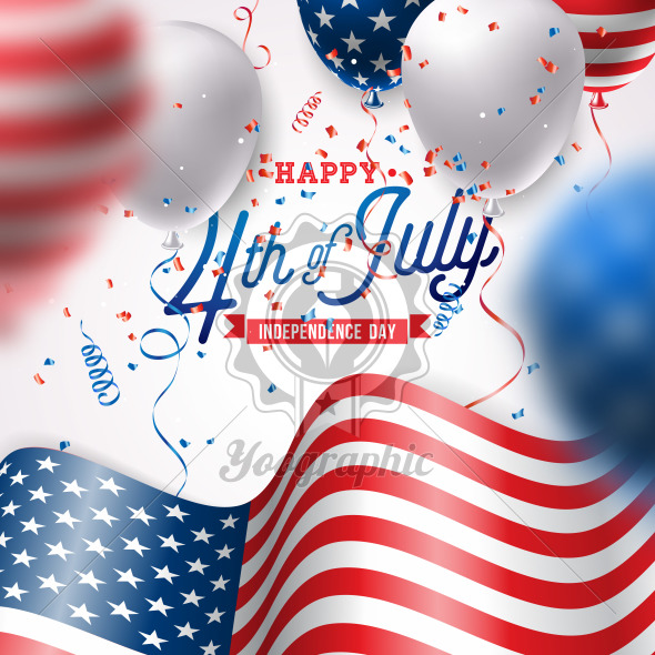 Independence Day of the USA Vector Illustration. Fourth of July Design with Air Balloon and Flag on White Background for Banner, Greeting Card, Invitation or Holiday Poster. - Royalty Free Vector Illustration