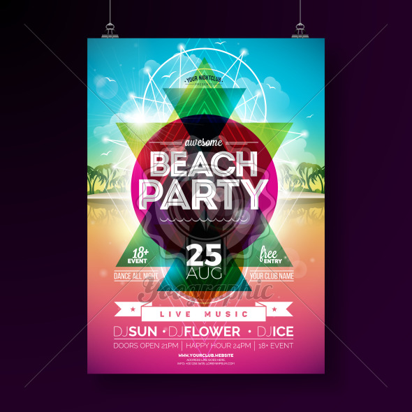 Vector Summer Beach Party Flyer Design with typographic elements and abstract color geometric shape on tropical landsape background. Design template for banner, flyer, invitation, poster. - Royalty Free Vector Illustration