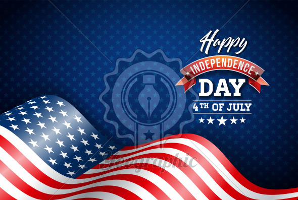 Happy Independence Day of the USA Vector Illustration. Fourth of July Design with Flag on Blue Background for Banner, Greeting Card, Invitation or Holiday Poster. - Royalty Free Vector Illustration