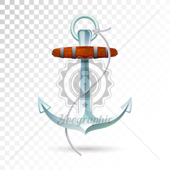 Ships anchor and rope isolated on transparent background. Detailed vector illustration for your design. - Royalty Free Vector Illustration