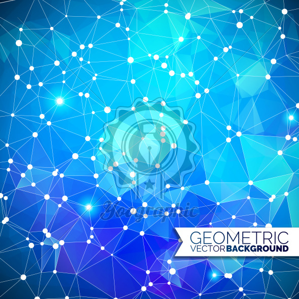 Abstract geometric background. Triangle design with polygonal shape and white circle for social network illustration. - Royalty Free Vector Illustration