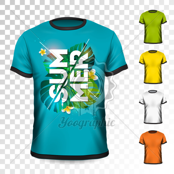 Summer Holiday T-Shirt design with tropical leaves and flower on transparent background. Vector Design template for clothing with some color variation. - Royalty Free Vector Illustration