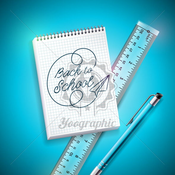 Back to school design with pen, ruler and notebook on blue background. Vector illustration with hand lettering for greeting card, banner, flyer, invitation, brochure or promotional poster. - Royalty Free Vector Illustration