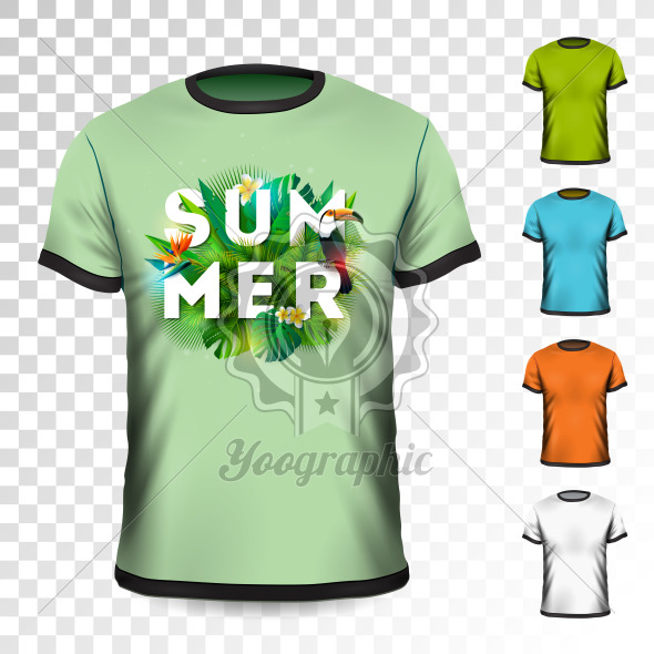 Summer Holiday T-Shirt design with tropical leaves, flower and toucan bird on transparent background. Vector Design template for clothing with some color variation. - Royalty Free Vector Illustration