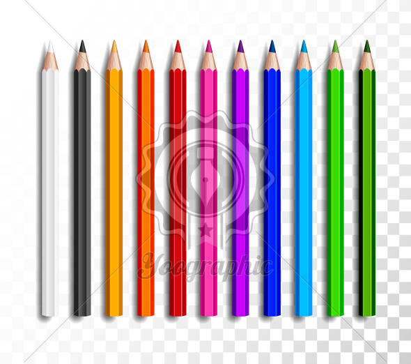 Design set of realistic colored pencils on transparent background. School items, colorful pencil vector illustration. - Royalty Free Vector Illustration