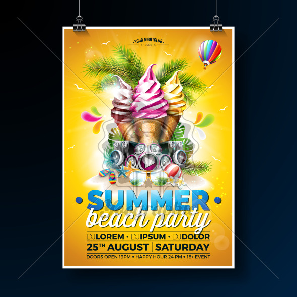 Vector Summer Beach Party Flyer Design with Ice Cream and Speakers on Shiny Background. Tropical plants, flower, sunglasses, beach ball and air balloon with sun rays. Holiday design template for banner, flyer, invitation or poster. - Royalty Free Vector Illustration