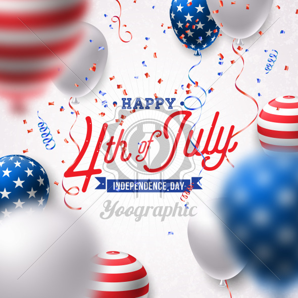 Happy Independence Day of the USA Vector Illustration. Fourth of July Design with Air Balloon and Falling Confetti on White Background for Banner, Greeting Card, Invitation or Holiday Poster. - Royalty Free Vector Illustration