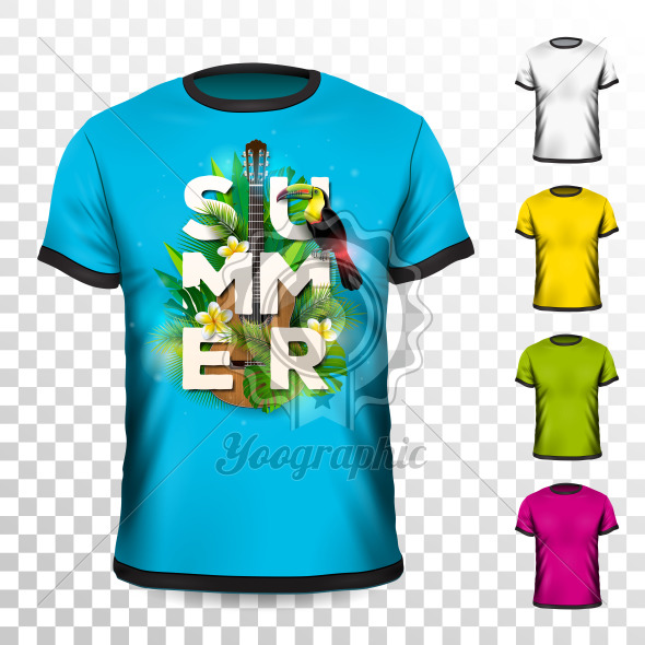 Summer Holiday T-Shirt design with tropical leaves, flower, acoustic guitar and toucan bird on transparent background. Vector Design template for clothing with some color variation. - Royalty Free Vector Illustration