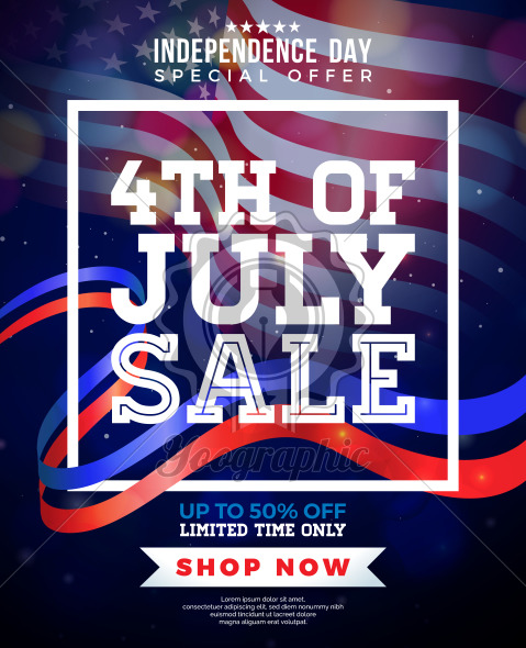 Fourth of July. Independence Day Sale Banner Design with Flag on Dark Background. USA National Holiday Vector Illustration with Special Offer Typography Elements for Coupon, Voucher, Banner, Flyer, Promotional Poster, Invitation or greeting card. - Royalty Free Vector Illustration