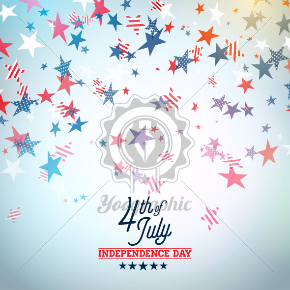 Independence Day of the USA Vector Illustration. Fourth of July Design with Falling Color Star and Typography elements on Light Background for Banner, Greeting Card, Invitation or Holiday Poster. - Royalty Free Vector Illustration