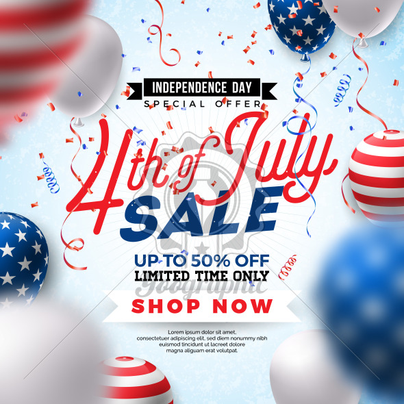 Fourth of July. Independence Day Sale Banner Design with Balloon on Confetti Background. USA National Holiday Vector Illustration with Special Offer Typography Elements for Coupon, Voucher, Banner, Flyer, Promotional Poster or greeting card. - Royalty Free Vector Illustration