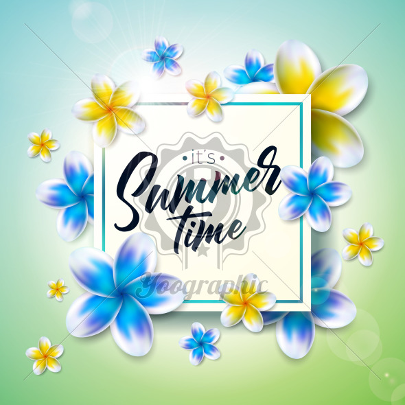 Its Summer Time illustration with flower on nature green background. Tropical Holiday typographic design template for banner, flyer, invitation, brochure, poster or greeting card. - Royalty Free Vector Illustration
