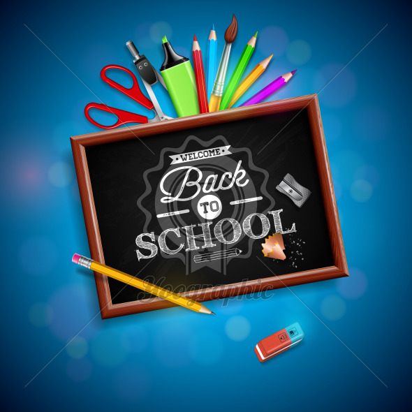 Back to school design with colorful pencil, eraser and other school items on blue background. Vector illustration with chalkboard and typography lettering for greeting card, banner, flyer, invitation, brochure or promotional poster. - Royalty Free Vector Illustration