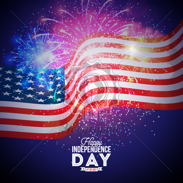 Happy Independence Day of the USA Vector Illustration. Fourth of July Design with Flag and Firework on Blue Background for Banner, Greeting Card, Invitation or Holiday Poster. - Royalty Free Vector Illustration