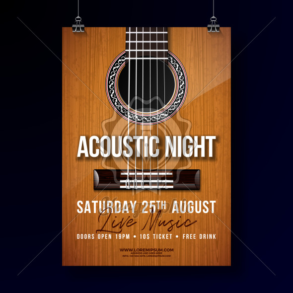 Acoustic Night Party Flyer Design with String and Lettering on Guitar Background. Vector Live Music Illustration Template for Invitation Poster, Promotional Banner, Brochure, or Greeting Card. - Royalty Free Vector Illustration