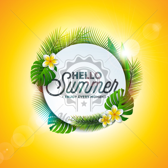 Vector Hello Summer Holiday typography illustration with tropical plants and flower on yellow background. Design template for banner, flyer, invitation, brochure, poster or greeting card. - Royalty Free Vector Illustration