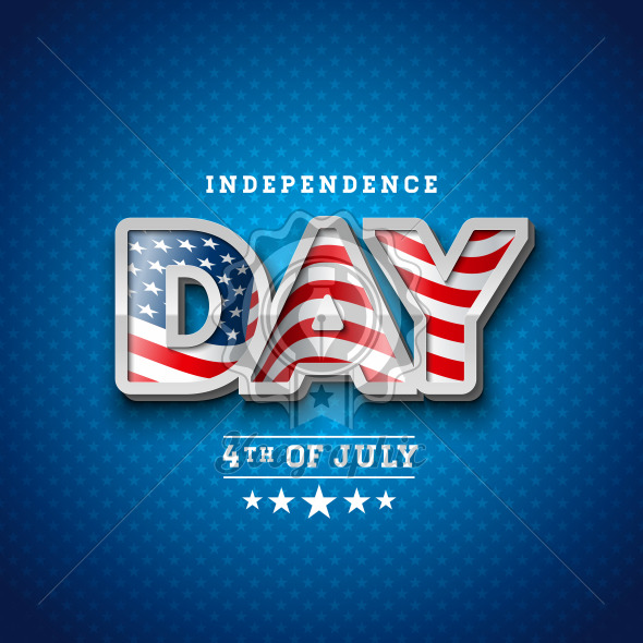Independence Day of the USA Vector Illustration with Flag in 3d Lettering. Fourth of July Design on Light Background for Banner, Greeting Card, Invitation or Holiday Poster. - Royalty Free Vector Illustration