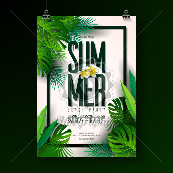 Vector Summer Beach Party Flyer Design with typographic elements on exotic leaf background. Summer nature floral elements, tropical plants, flower. Design template for banner, flyer, invitation, poster. - Royalty Free Vector Illustration