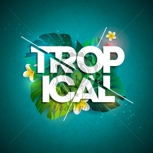 Vector Tropical Holiday typographic illustration with exotic leaf and flower on blue background. Summer design template for banner, flyer, invitation, brochure, poster or greeting card. - Royalty Free Vector Illustration