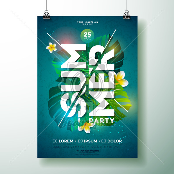 Vector Summer Beach Party Flyer Design with flower and tropical plants on blue background. Summer nature floral elements and typographic letter. Design template for banner, flyer, invitation, poster. - Royalty Free Vector Illustration