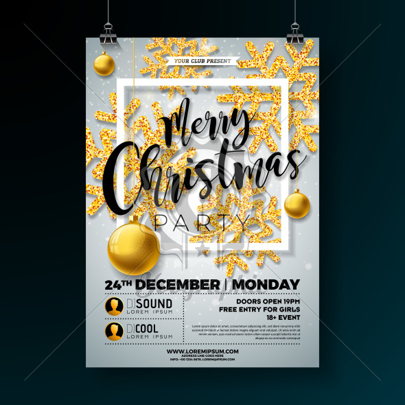 Christmas Party Flyer Illustration with Shiny Gold Glittered Snowflakes and Typography Lettering on White Background. Vector Holiday Celebration Poster Design Template for Invitation or Banner. - Royalty Free Vector Illustration