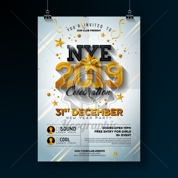2019 New Year Party Celebration Poster Template Illustration with Shiny Gold Number on White Background. Vector Holiday Premium Invitation Flyer or Promo Banner. - Royalty Free Vector Illustration