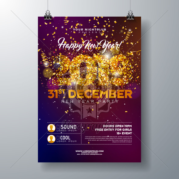 2019 New Year Party Celebration Poster Template illustration with Gold Glittered Number and Falling Colorful Confetti on Shiny Background. Vector Holiday Premium Invitation Flyer or Promo Banner. - Royalty Free Vector Illustration