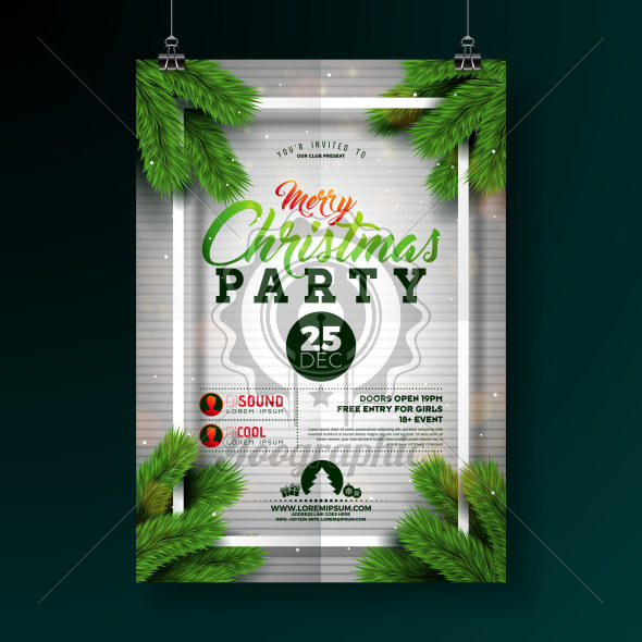 Christmas Party Flyer Illustration with Typography Lettering and Pine Branch on White Background. Vector Holiday Celebration Poster Design Template for Invitation or Banner. - Royalty Free Vector Illustration