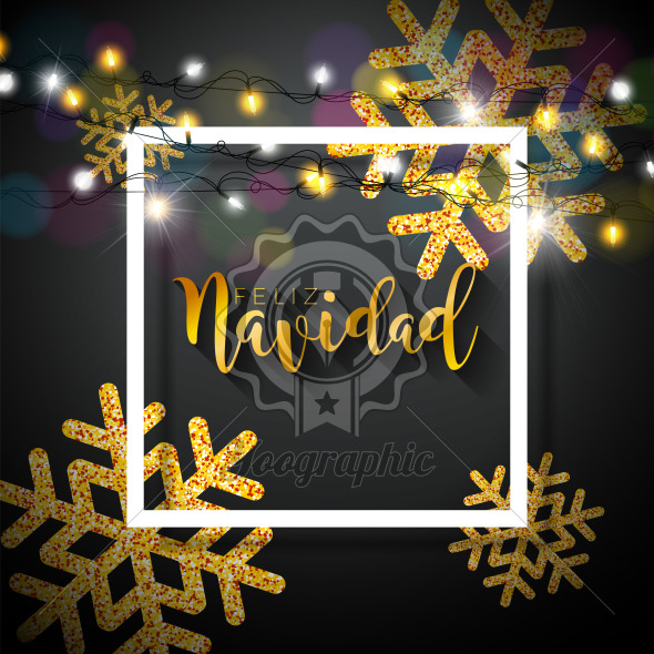 Vector Christmas Illustration with Spanish Feliz Navidad Typography on Black Background. Holiday Light Garland and Glittered Snowflakes Design for Greeting Card, Party Invitation or Promo Banner. - Royalty Free Vector Illustration