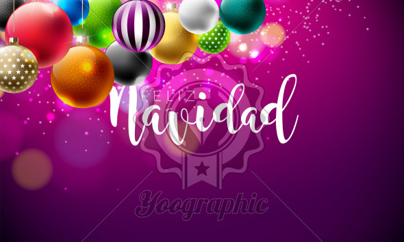 Vector Christmas Illustration with Spanish Feliz Navidad Typography on Violet Background. Mullticolored Holiday Ornamental Ball Design for Greeting Card, Party Invitation or Promo Banner. - Royalty Free Vector Illustration