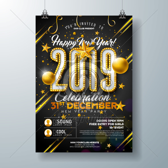 2019 New Year Party Celebration Poster Template Illustration with Lights Bulb Number and Gold Christmas Ball on Black Background. Vector Holiday Premium Invitation Flyer or Promo Banner. - Royalty Free Vector Illustration