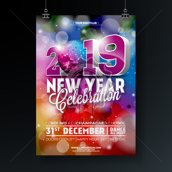 New Year Party Celebration Poster Template illustration with 3d 2019 Number and Disco Ball on Shiny Colorful Background. Vector Holiday Premium Invitation Flyer or Promo Banner. - Royalty Free Vector Illustration